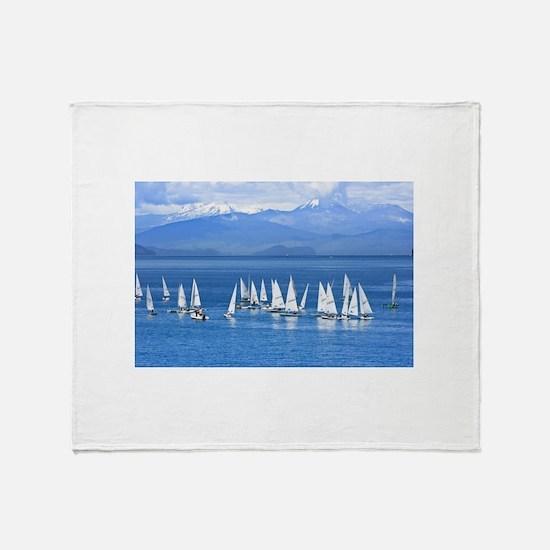 nautical sailboats Throw Blanket