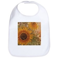 rustic western country sunflower Bib