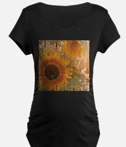 rustic western country sunflower Maternity T-Shirt