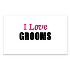 I Love GROOMS Rectangle Decal