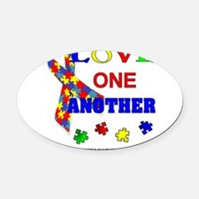 Autism Awareness Love one another Oval Car Magnet