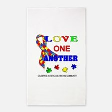 Autism Awareness Love one another Area Rug