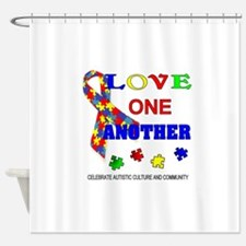 Autism Awareness Love one another Shower Curtain