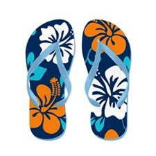Navy-orange-light blue-white Hawaiian Hibiscus Fli