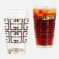 Brown Greek Tiles Drinking Glass