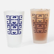 Dark Blue Greek Tiles Drinking Glass