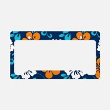 Navy-orange-light blue-white Hawaiian Hibiscus Lic
