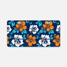 Navy-orange-light blue-white Hawaiian Hibiscus Alu