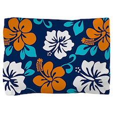 Navy-orange-light blue-white Hawaiian Hibiscus Pil