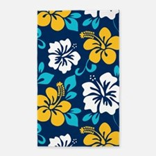 Navy-yellow-light blue-white Hawaiian Hibiscus Are