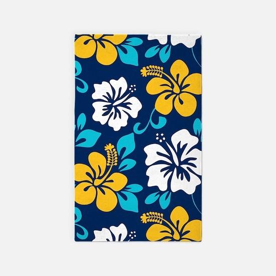 Navy-yellow-light blue-white Hawaiian Hibiscus Are