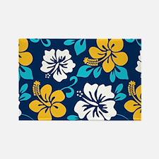 Navy-yellow-light blue-white Hawaiian Hibiscus Mag