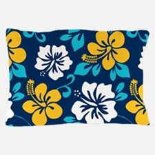 Navy-yellow-light blue-white Hawaiian Hibiscus Pil