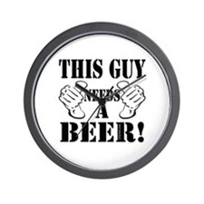 This Guy NEEDS A BEER! Wall Clock