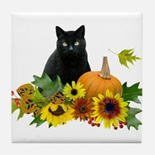 Fall Cat Tile Coaster