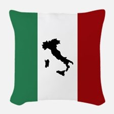 Italian Flag & Boot Woven Throw Pillow