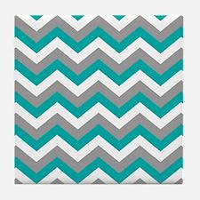 Grey & Teal Chevron Pattern Tile Coaster