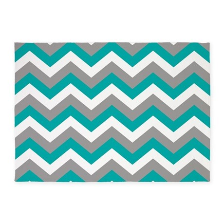 Grey U0026 Teal Chevron Pattern 5u0027x7u0027Area Rug