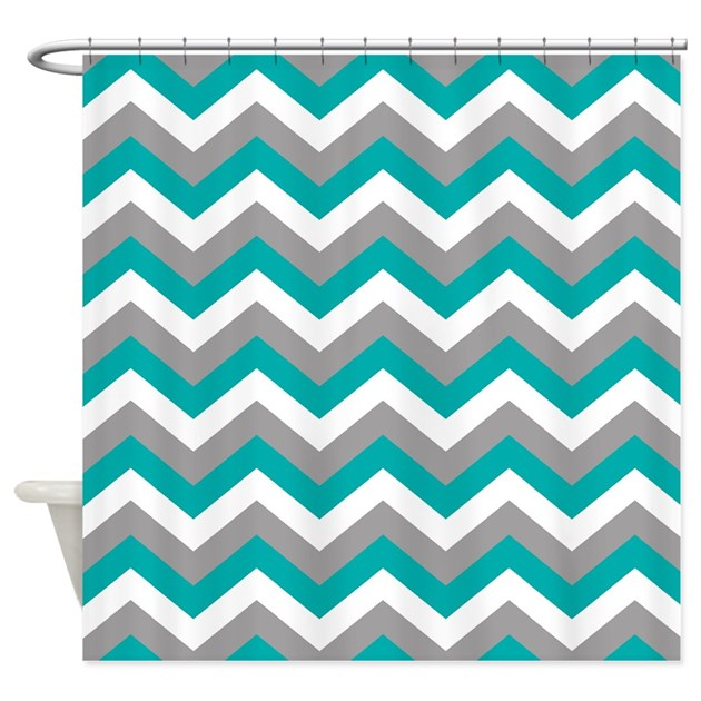 Grey Amp Teal Chevron Pattern Shower Curtain By Colors And