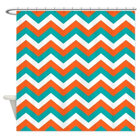 Teal Orange Chevron Pattern Shower Curtain By Colors And Patterns 1