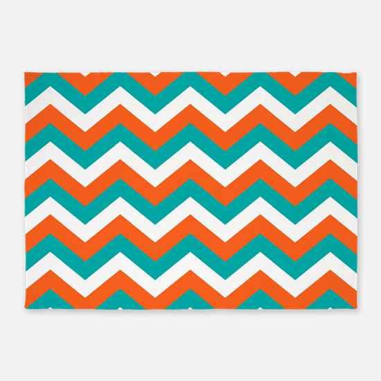Teal & Orange Chevron Pattern 5'x7'Area Rug
