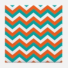 Teal & Orange Chevron Pattern Tile Coaster