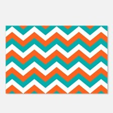 Teal & Orange Chevron Pat Postcards (Package of 8)