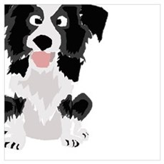 Funny Border Collie Art Canvas Art