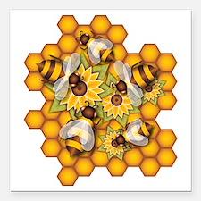 "Honeybees Square Car Magnet 3"" x 3"""