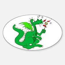 Roasting Marshmallows Dragon Oval Decal