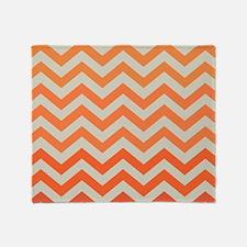 Orange Ombre Chevron Pattern Throw Blanket