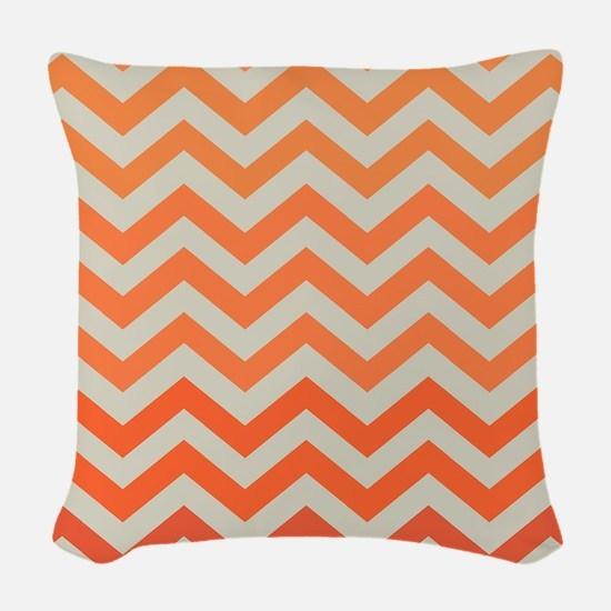 Orange Ombre Chevron Pattern Woven Throw Pillow