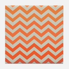Orange Ombre Chevron Pattern Tile Coaster