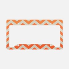 Orange Ombre Chevron Pattern License Plate Holder