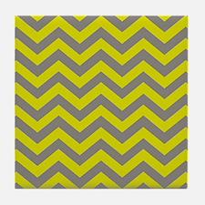 Chartreuse & Grey Chevron Pattern Tile Coaster