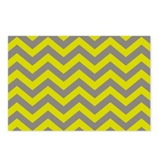 Chartreuse & Grey Chevron Postcards (Package of 8)