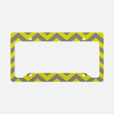 Chartreuse & Grey Chevron Pat License Plate Holder