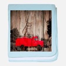 farm landscape vintage fire truck baby blanket