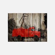 farm landscape vintage fire truck 5'x7'Area Rug