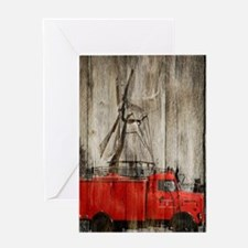 farm landscape vintage fire truck Greeting Cards