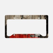 farm landscape vintage fire t License Plate Holder