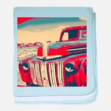 cool retro old truck baby blanket