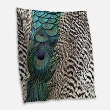Peacock Feathers Burlap Throw Pillow