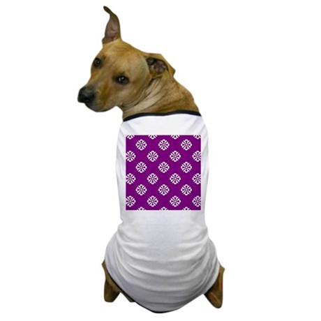 White and Purple Damask Dog T-Shirt