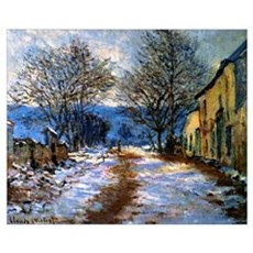 Monet - The Effects of Snow at Limetz Framed Print