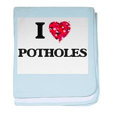 I Love Potholes baby blanket