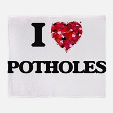 I Love Potholes Throw Blanket