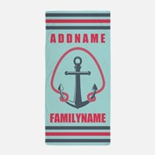 Mint and Red Rope and Anchor Personali Beach Towel