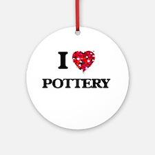 I Love Pottery Ornament (Round)
