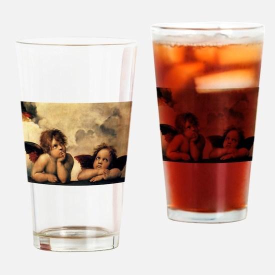 Sistine Madonna Angels by Raphael Drinking Glass